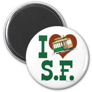I love San Francisco Cable Cars 6 Cm Round Magnet