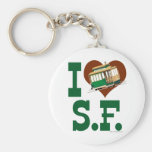 I love San Francisco Cable Cars Basic Round Button Key Ring