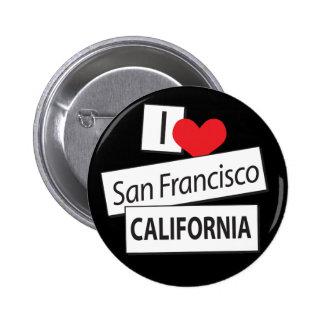 I Love San Francisco California Pinback Buttons