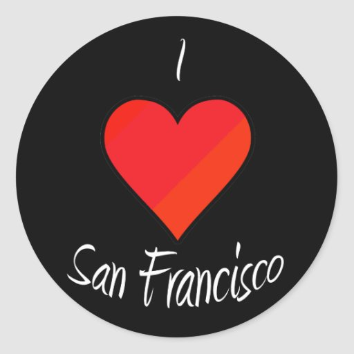 I Love San Francisco Round Stickers