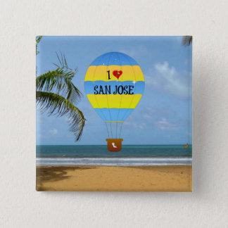 I Love San Jose Hot Air Balloon Beach Scene 15 Cm Square Badge
