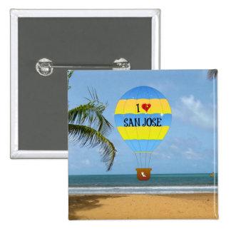 I Love San Jose Hot Air Balloon Beach Scene 15 Cm Square Badge