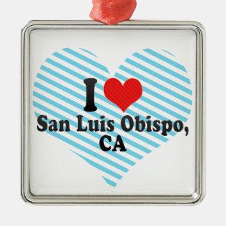 I Love San Luis Obispo,+CA Silver-Colored Square Decoration