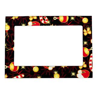 I love Santa seamless pattern black.ai Magnetic Picture Frame