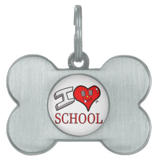 I Love School Design for Learners and Educators Pet ID Tag