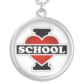 I Love School Round Pendant Necklace