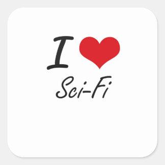 I Love Sci-Fi Square Sticker