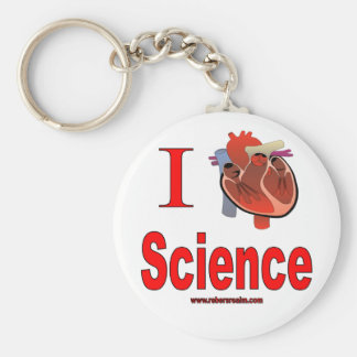 I Love Science Basic Round Button Key Ring