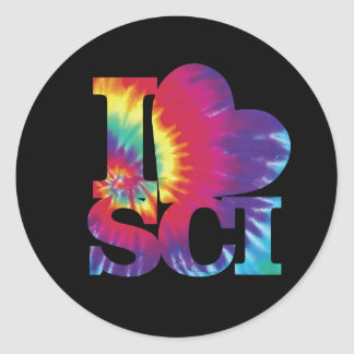 I love Science tie dye stickers