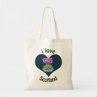 I Love Scotland Hearts and Thistles Budget Tote Bag