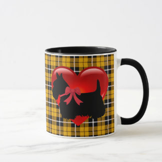 I love, Scottish Terrier, big red heart gold plaid Mug