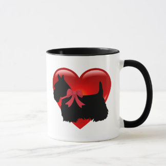 I love, Scottish Terrier, big red heart Mug