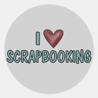 I Love Scrapbooking Classic Round Sticker