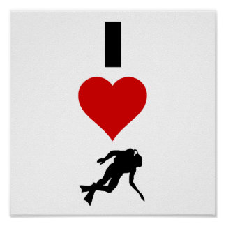 I Love Scuba Diving (Vertical) Poster