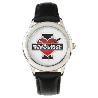 I Love Scuba Diving Wristwatches