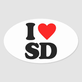 I LOVE SD OVAL STICKER