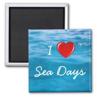 I Love Sea Days Square Magnet