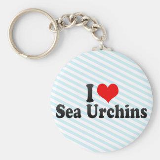 I Love Sea Urchins Basic Round Button Key Ring