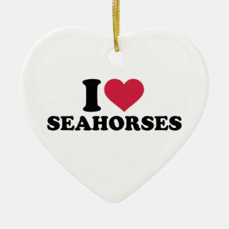 I love Seahorses Double-Sided Heart Ceramic Christmas Ornament