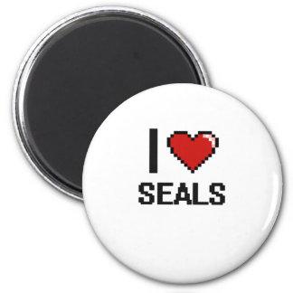 I love Seals Digital Design 6 Cm Round Magnet