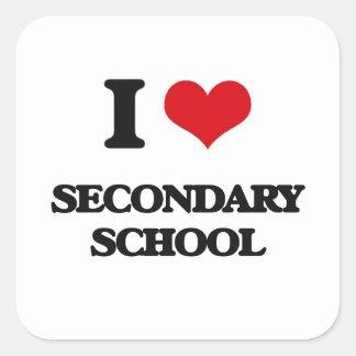 I Love Secondary School Square Sticker