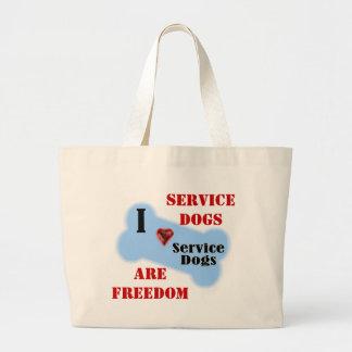 I Love Service Dogs Jumbo Tote Bag