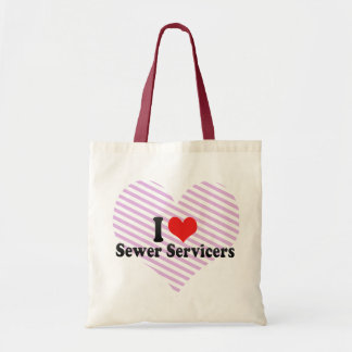 I Love Sewer Servicers Canvas Bags