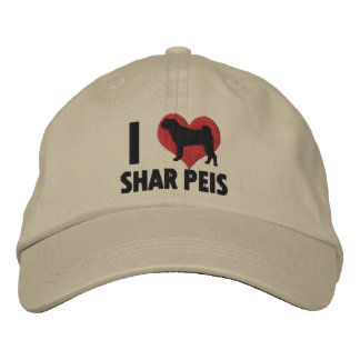 I Love Shar Peis Embroidered Hat