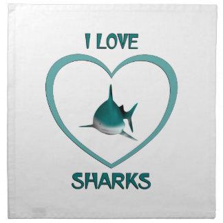 I Love Sharks Napkin