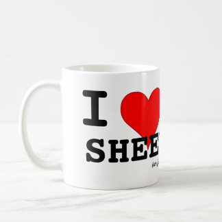 I Love Sheep (as friends) Big Red Heart Black Lamb Basic White Mug