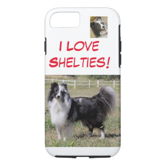 I Love Shelties - bi blue, split faced Shelti- iPhone 8/7 Case