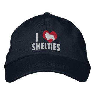 I Love Shelties Dark Embroidered Hat