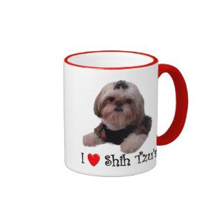 I Love Shih Tzu Ringer Mug