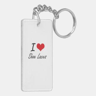 I Love Shoe Laces Double-Sided Rectangular Acrylic Key Ring