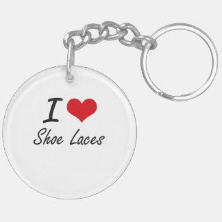 I Love Shoe Laces Double-Sided Round Acrylic Key Ring