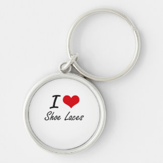 I Love Shoe Laces Silver-Colored Round Key Ring