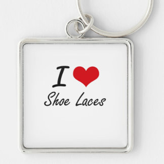 I Love Shoe Laces Silver-Colored Square Key Ring
