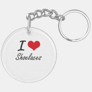 I Love Shoelaces Double-Sided Round Acrylic Key Ring