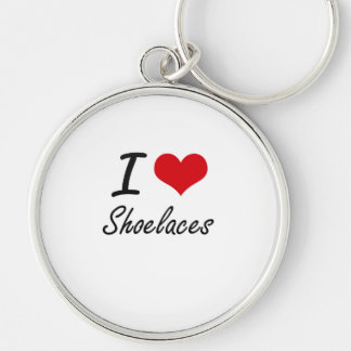 I Love Shoelaces Silver-Colored Round Key Ring