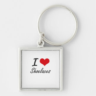 I Love Shoelaces Silver-Colored Square Key Ring