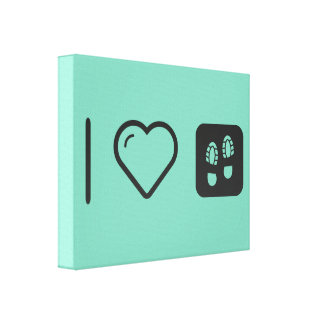 I Love Shoes Footprint Gallery Wrap Canvas