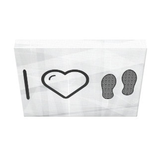 I Love Shoes Footprints Stretched Canvas Prints