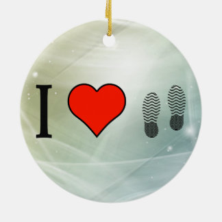 I Love Shoes Round Ceramic Decoration