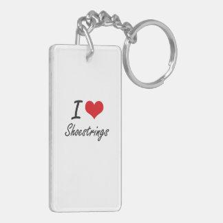 I Love Shoestrings Double-Sided Rectangular Acrylic Key Ring