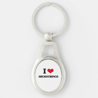 I Love Shoestrings Silver-Colored Oval Keychain