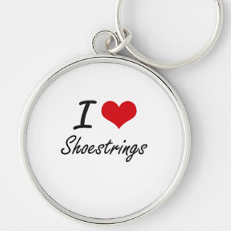 I Love Shoestrings Silver-Colored Round Key Ring