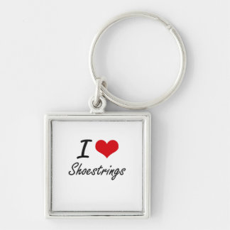 I Love Shoestrings Silver-Colored Square Key Ring