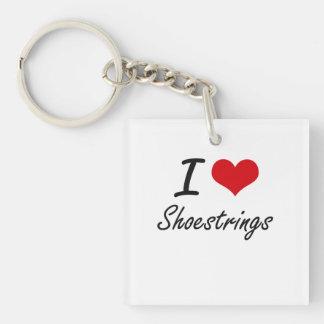 I Love Shoestrings Single-Sided Square Acrylic Key Ring
