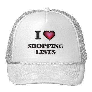 I Love Shopping Lists Cap