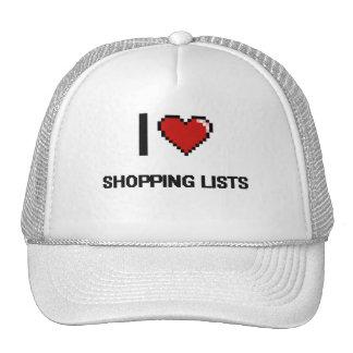 I Love Shopping Lists Digital Retro Design Cap